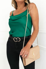 Gigi Satin Tank Top Green