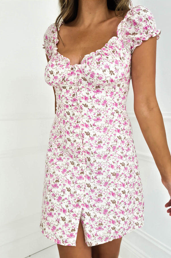 Hayley Floral Mini Dress Pink
