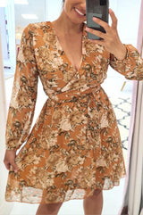 Betsy Printed Mini Dress Orange