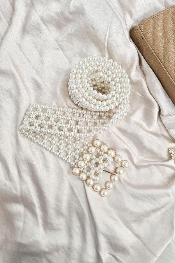 Pelle Faux Pearl Belt | Square Buckle
