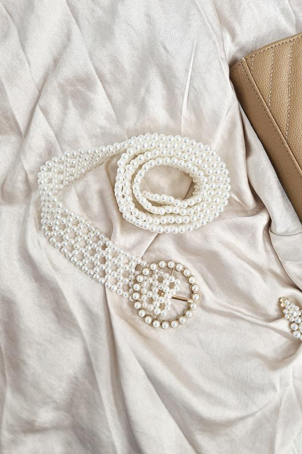 Petra Faux Pearl Belt | Round Buckle