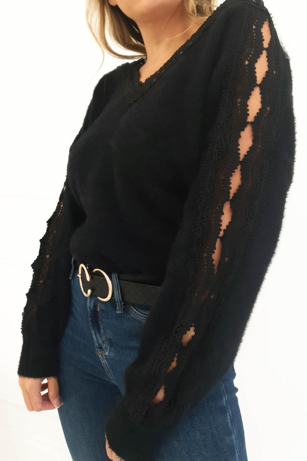 Penny Soft Lace Jumper Black
