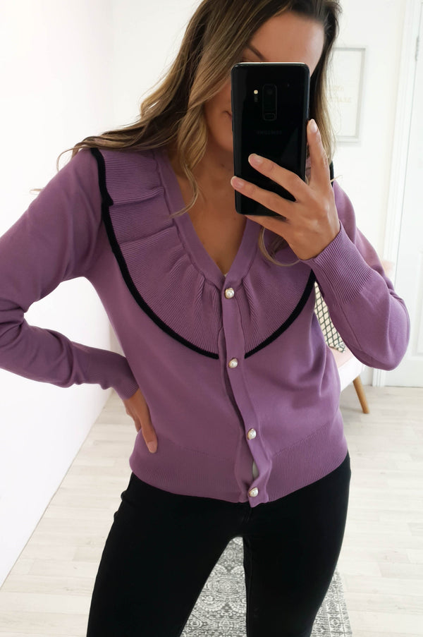 Pearl Ruffle Cardigan Purple