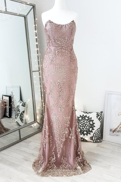 Camila Strapless Gown Rose Gold