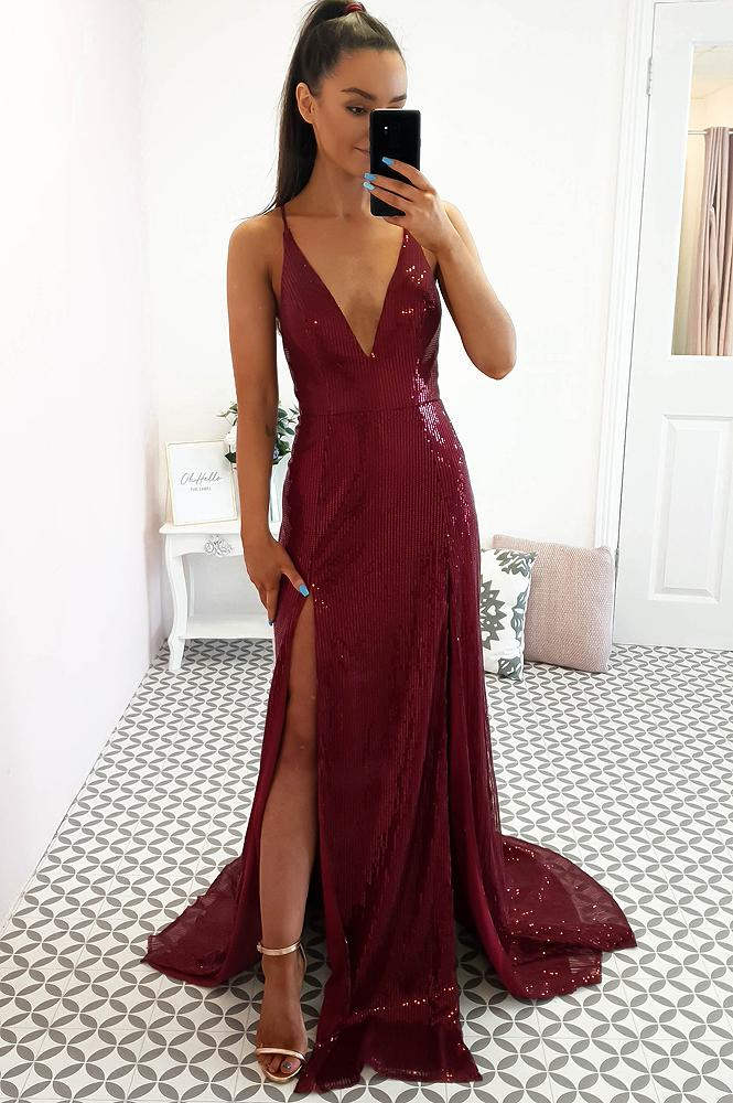 Rachel Sequin Gown Burgundy