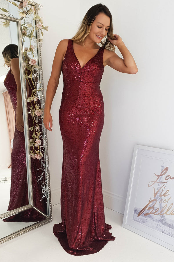 Paris Sequin Gown Burgundy