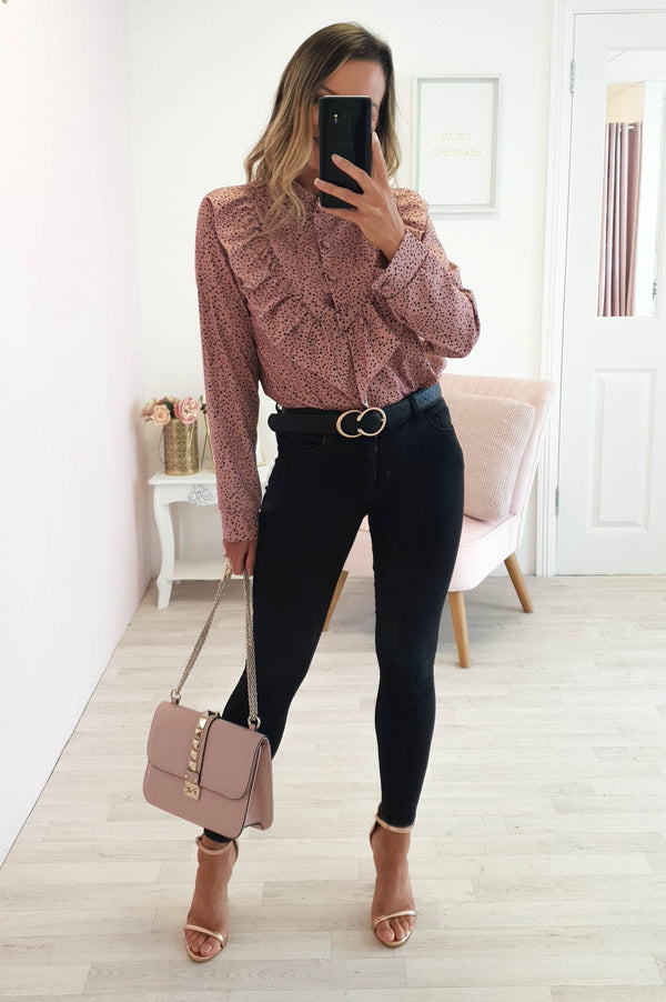 Leo Polka Dot Shirt Top in Blush