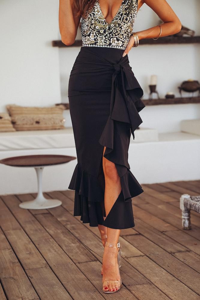 Heather Midi Skirt Black
