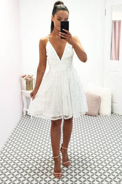 Marlo Sequin Mini Dress White