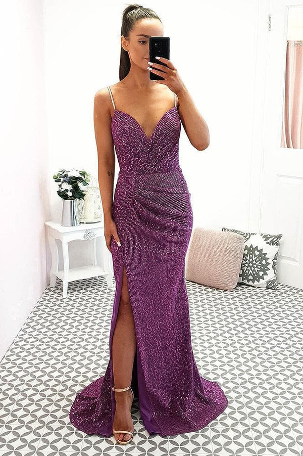Andrea Sequin Gown Purple