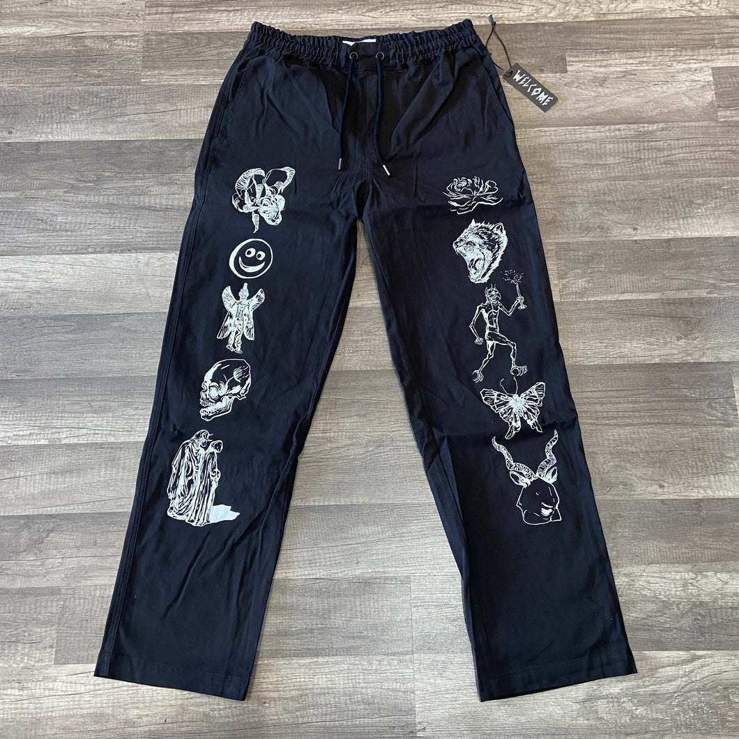 Welcome Emblem Printed Pants