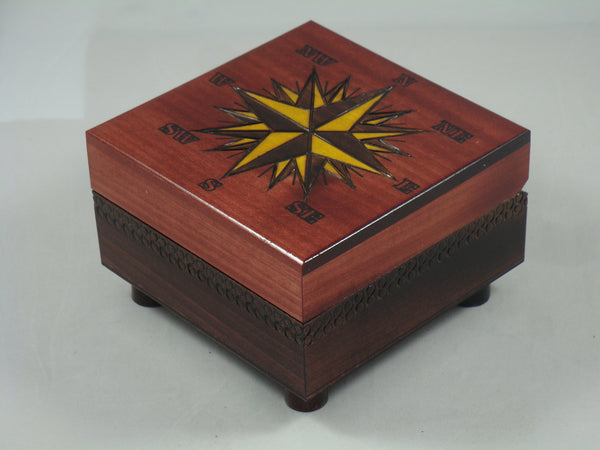 Small Compass Chartography Nautical Star Secret Legs Wood Box