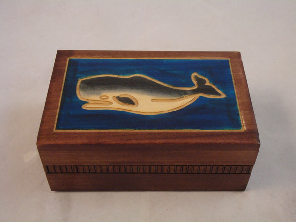 Sperm Whale and Ocean Decorated Polish Jewelry Keepsake Box