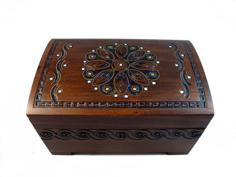 Art Deco Flower Design Jewelry Chest with Lock and Key
