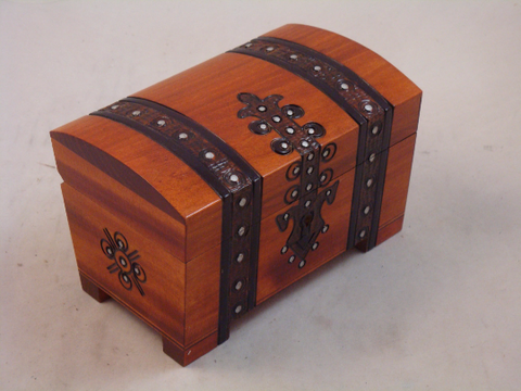 Banded Handmade Wooden Pirate Treasure Chest Wood Box