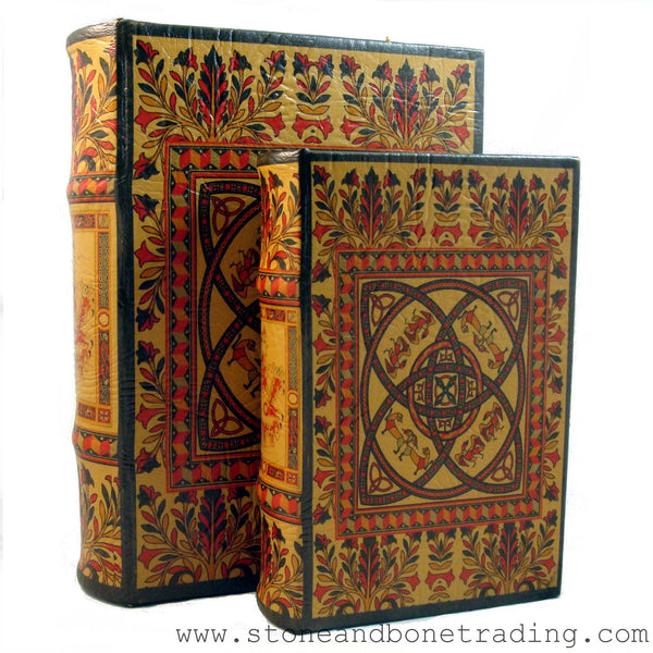 Book Of Kells Celtic Knot Decorated Book Box Stone And