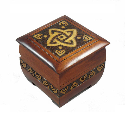 Celtic Knot of Love Handmade Wood Box with Lock and Key
