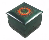 Flower Leaf Motif with Lock and Key Jewelry Keepsake Box (Green Finish)