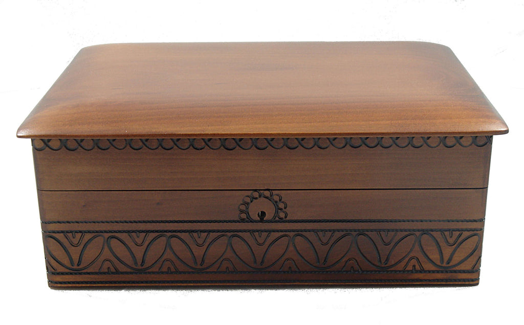 ... Large Executive Wood Storage Box With Lock And Key Great For Desk Or  Dresser Storage Of