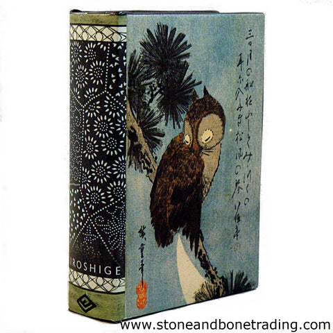 woodblock print the crescent moon and owl perched on pine branches by hiroshige book box