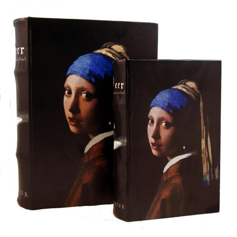 Girl with a Pearl Earring by Vermeer Print on Cover of Book Box