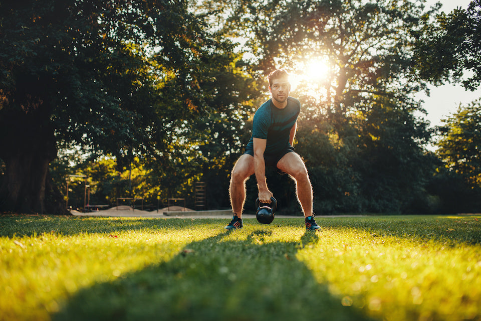 Athletic male gaining muscle while losing fat