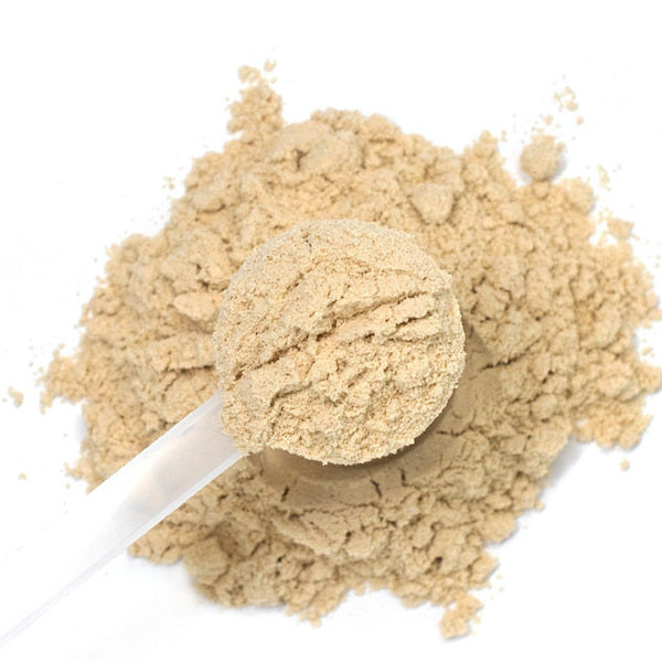 Overhead shot of whey protein in scooper