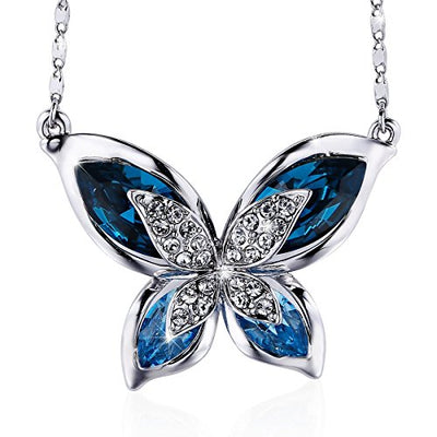 """Something Blue"" Swarovski Crystal Butterfly Necklace"