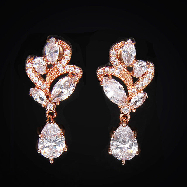 JESS - Gold AAA CZ Floral Bridal Earrings