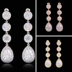 JESS - AAA Cubic Zirconia Paved Bridal Gold Drop Earrings