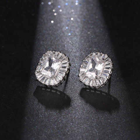 AAA+ Cubic Zirconia Oval Stud Earrings