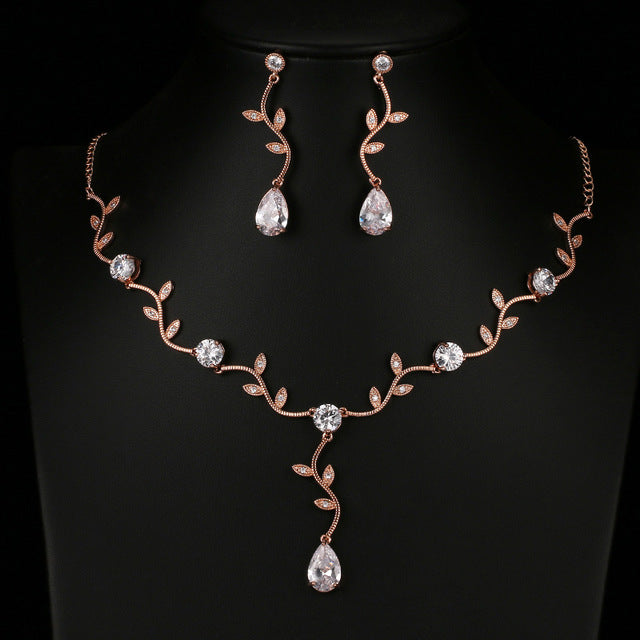 Water Drop CZ Cubic Zirconia Earrings and Necklace Bridal Set