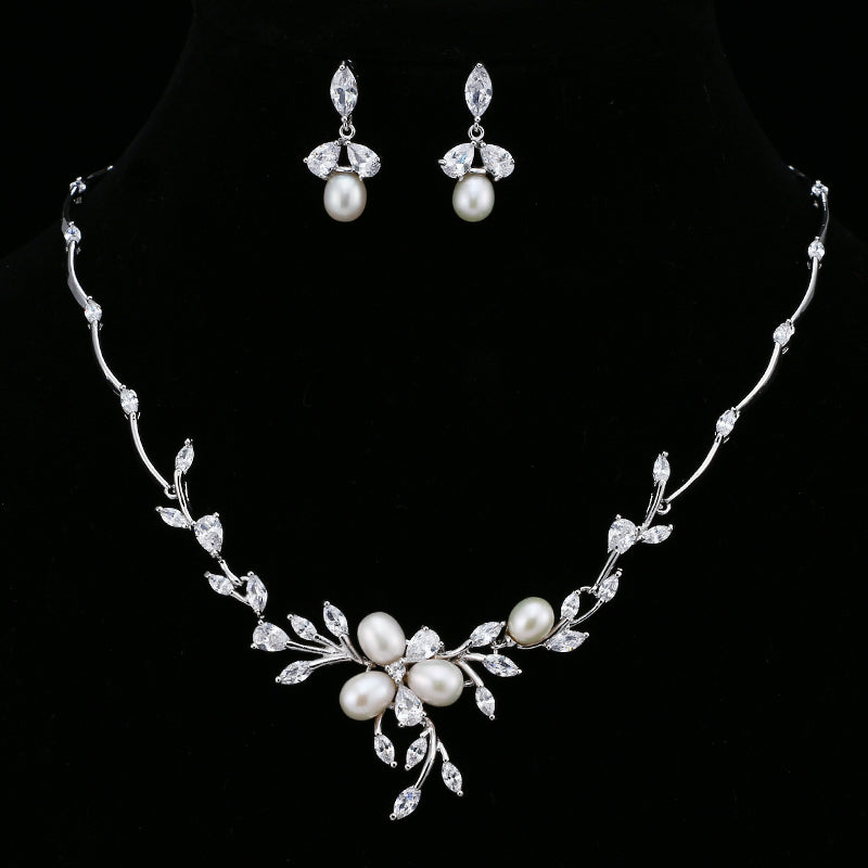 AAA Cubic Zirconia and Pearls Necklace and Earrings Bridal set
