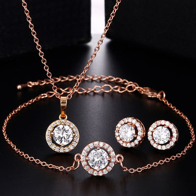 CAMILA - AAA Cubic Zirconia Bridal Earrings, Bracelet and Pendant Necklace Set