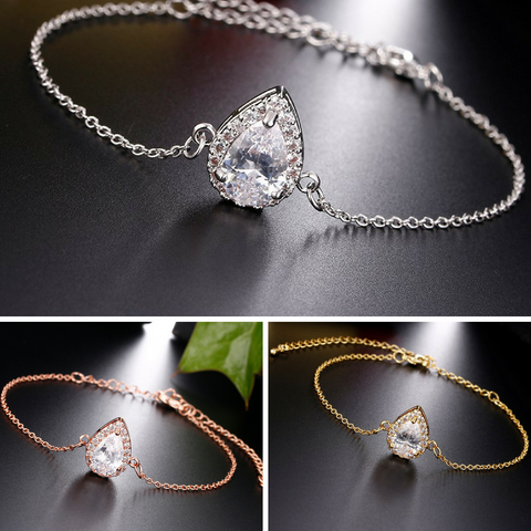 JESS - AAA Cubic Zirconia Water Drop Gold Bridesmaid Bracelet