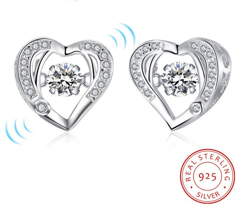 AUBRY - Floating Cubic Zirconia Sterling Silver Heart Stud Earrings