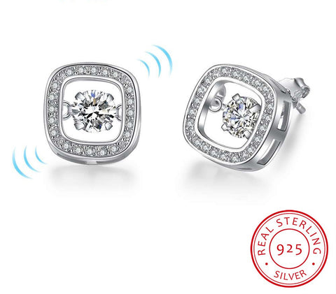 AUBRY - Floating Cubic Zirconia Sterling Silver Square Stud Earrings