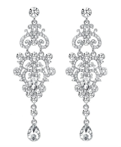 Elegant Deardrop Bridal Rhinestone Earrings