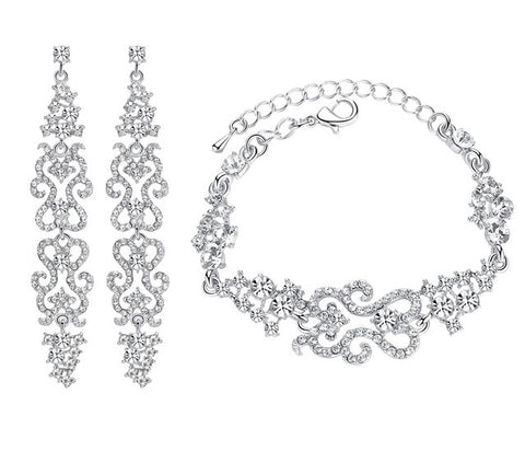 Bridal Rhinestone Earrings and Bracelet Set
