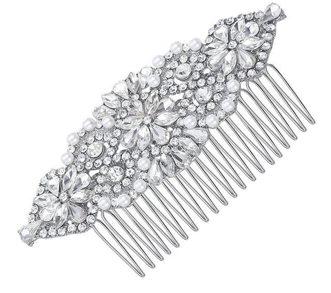 Bridal Pearl and Rhinestone Hair Comb
