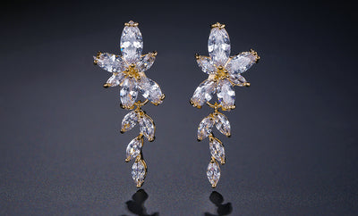 FRANCES -  AAA Cubic Zirconia Floral Teardrop Gold Earrings