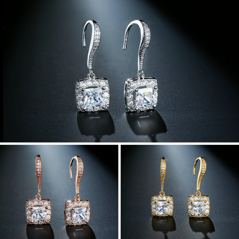 CAMILA - AAA Cubic Zirconia Square Bridal Drop Gold Earrings