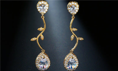 Water Drop CZ Cubic Zirconia Bridal Earrings