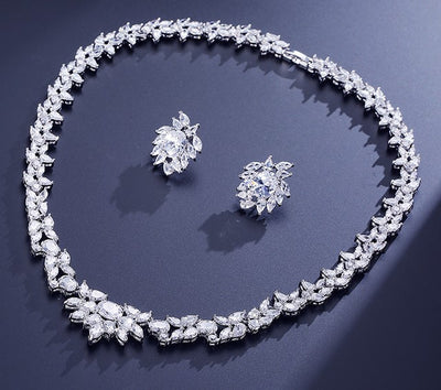FRANCES - AAA+ Cubic Zirconia CZ Bridal Necklace and Earrings Set