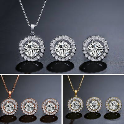 CAMILA - AAA Cubic Zirconia Bridal Earrings and Pendant Necklace Set