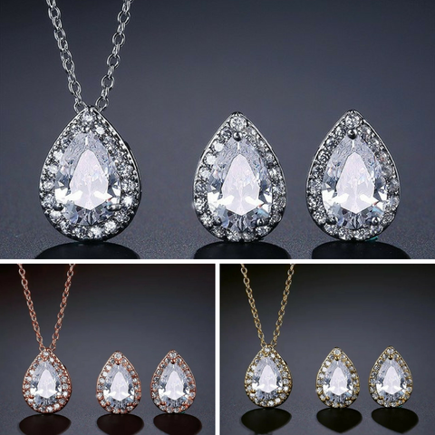 JESS - AAA CZ Bridal Drop Earrings and Necklace Set
