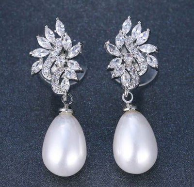 JESS - Gold AAA CZ and Swarovski Pearls Floral Bridal Drop Earrings