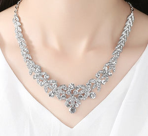Bridal Rhinestone Earrings and Necklace Set