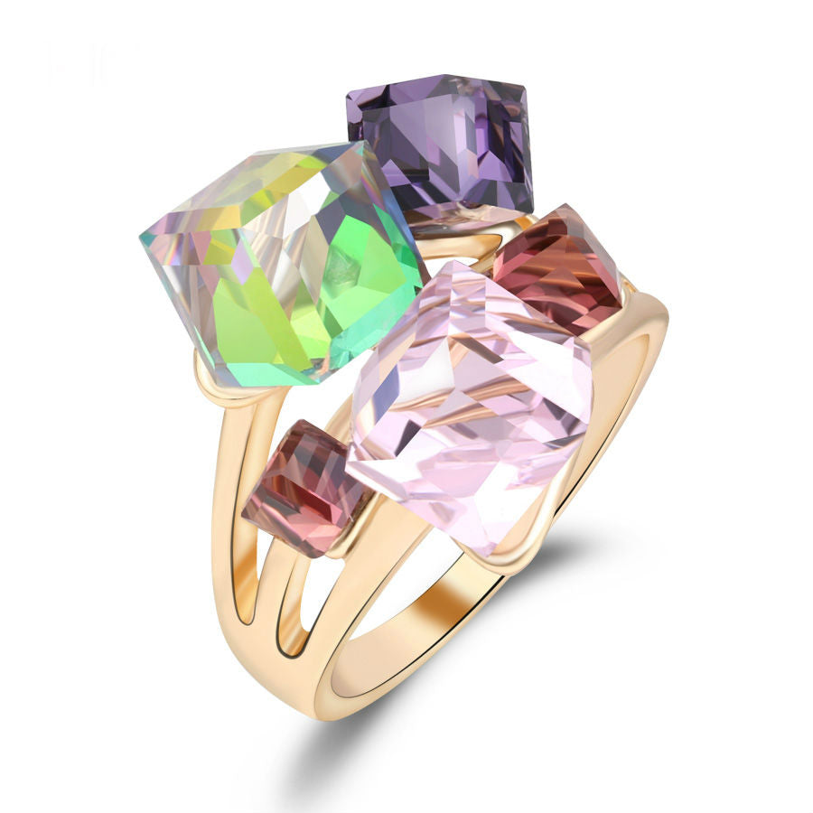 Multi Color Crystal gold ring