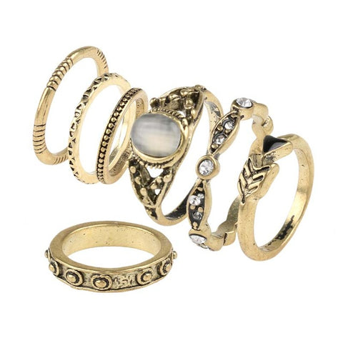 BOHO Antique gold Set of 7 Rings